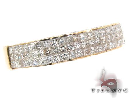 3 Row Princess Cut Invisible Diamond Ring Stone