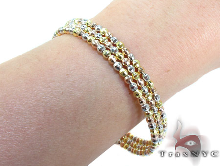 3 Row Three Tone Silver Bracelet Silver & Stainless Steel