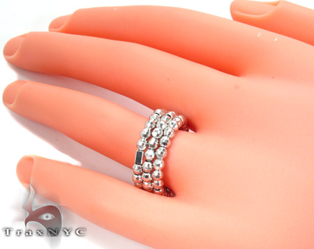 3 Row White Silver Ring Anniversary/Fashion