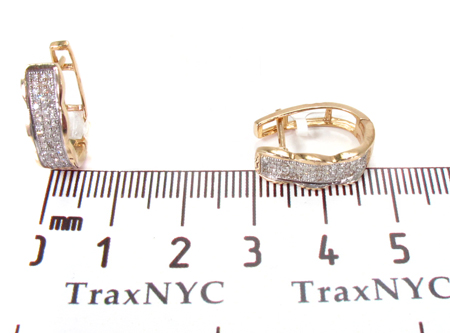 3 Row Yellow Gold Diamond Hoop Earrings Style