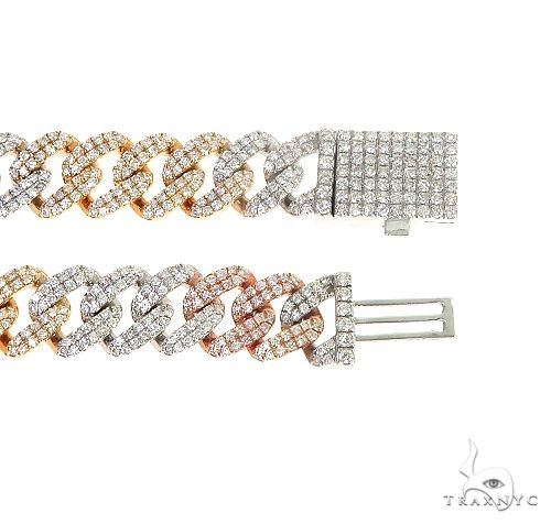 3 Tone 14K Gold Miami Cuban Diamond Bracelet 66689 Diamond