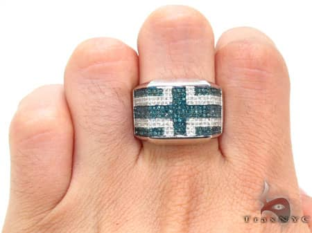 Hip Hop Jewelry - Blue & White Pave Ring Stone