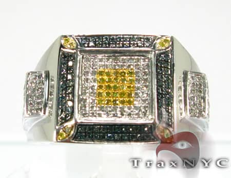 Hip Hop Jewelry - Tri-Color Square Ring Stone