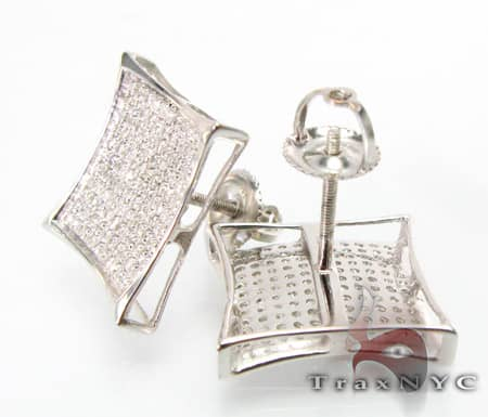 10K Gold Pave SQ Earrings Stone
