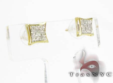 Yellow Gold Mini SQ Earrings Stone