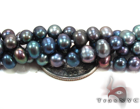 4 Stones Pearl Long Silver Necklace 27611 Pearl