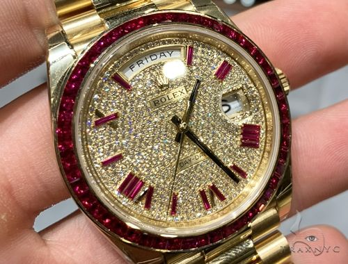40mm Mens 18K Yellow Gold Diamond and Rubies Rolex Presidential 65032 Diamond Rolex Watch Collection