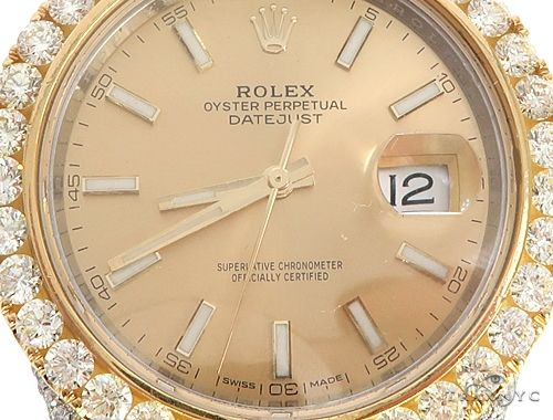 41mm Two Tone Fully Iced Out Rolex Datejust Watch Jubilee Band 65022 Diamond Rolex Watch Collection