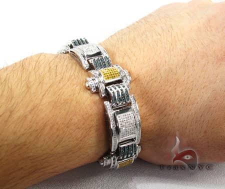Hip Hop Jewelry - Pave & Channel Colored Joker Bracelet Diamond