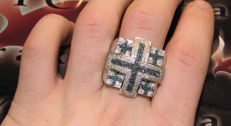 Hip Hop Jewelry Blue & White Pave XL Ring Stone