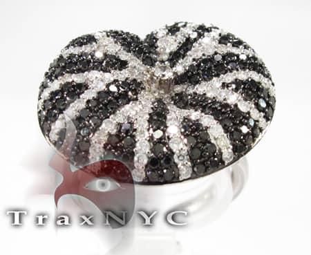 Black and White Diamond Cushion Ring Anniversary/Fashion