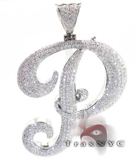 Iced Letter P Pendant Metal