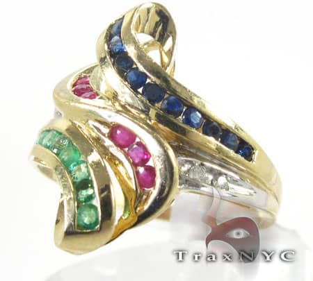 Tri Gemstones Ring Anniversary/Fashion