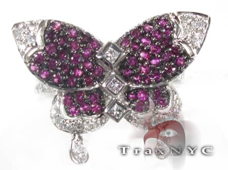 18K White Gold & Purple Diamond Butterfly Ring Anniversary/Fashion
