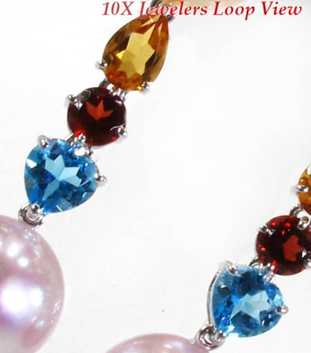 Multi Colored Pearl Earrings Stone