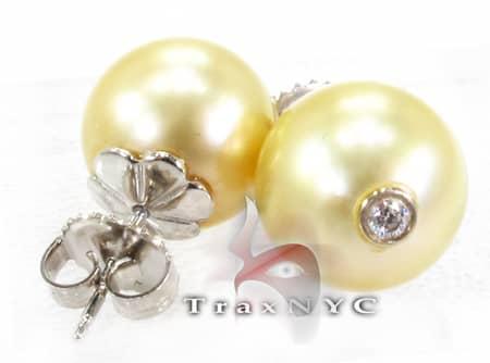 Golden South Sea Pearl Earrings Stone