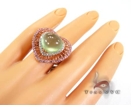 Colored Sapphire & Sphalerite Heart Ring Anniversary/Fashion