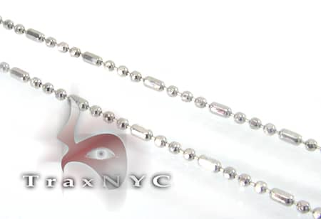 White Gold Beaded Chain 16 Inches, 1mm, 1.3 Grams Gold