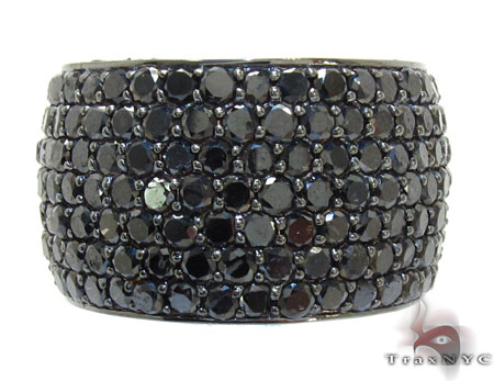 7 Row Fully Black Diamond Ring Stone