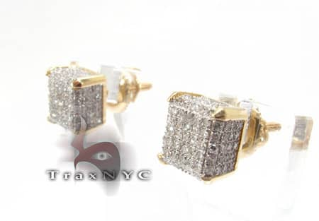 Ladies Ice Cube Diamond Earrings Stone