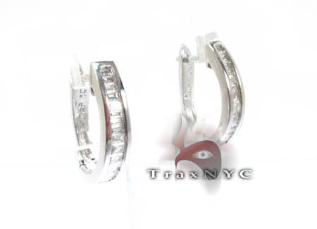 Ladies Hoop Baguette Diamond Earrings Style