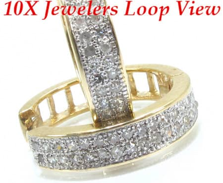 Ladies Yellow Gold 2 Row Diamond Hoop Earrings Style