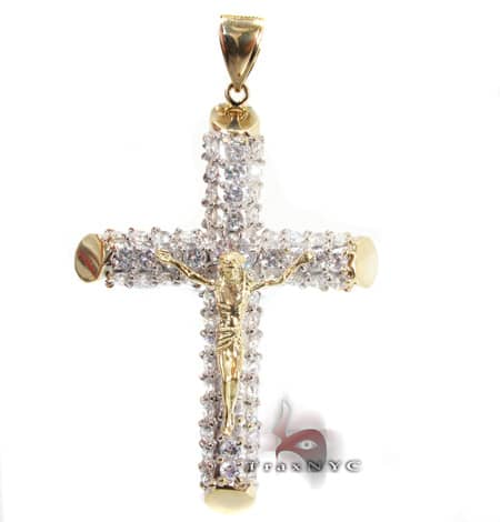 CZ Cross Crucifix Pendant 3 Gold