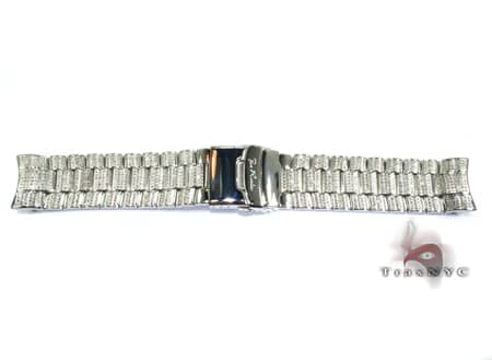 Joe Rodeo White Stainless Steel Band 24mm Fully Iced Watch Accessories