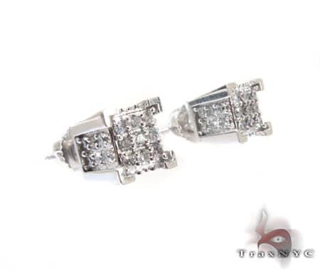 White Gold 4 Row Earrings Stone