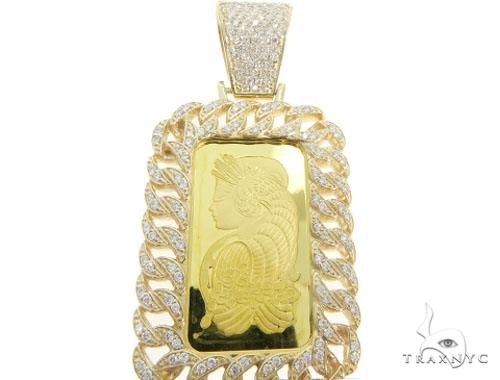 20 Grams of 999.9 Gold Bar with 14K Gold Diamond Frame and Bail Suisse Pendant 58585 Metal