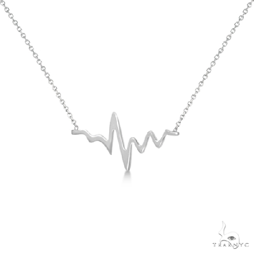 Heartbeat Pendant Necklace in 14k White Gold Metal