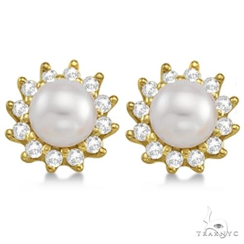 Akoya Cultured Pearl and Diamond Halo Earrings 14K Yellow Gold (6mm) Stone