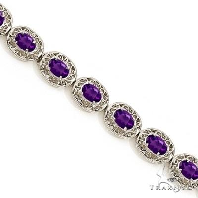 Amethyst Antique Style Filigree Link Bracelet 14k White Gold Gemstone & Pearl