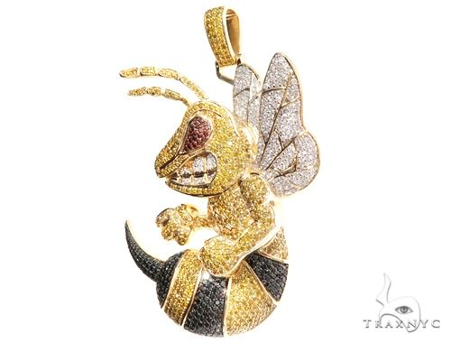 Custom Large Angry Bee Pendant Metal
