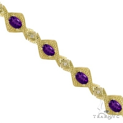 Antique Style Amethyst and Diamond Link Bracelet 14k Yellow Gold Gemstone & Pearl