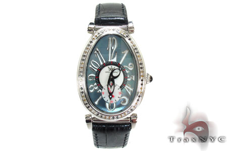 Aqua Techno Diamond Bezel Leather Watch Aqua Techno