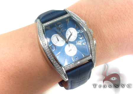 Aqua Techno Diamond & Blue Leather Watch Aqua Techno
