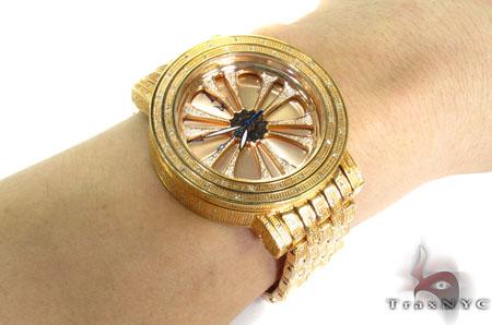 Aqua Techno Speeding Rose Color Dial with White Color Diamond Watch Aqua Techno