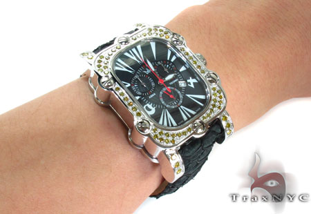 Aqua Techno Stainless Steel Canary Color Diamond Watch Affordable Diamond Watches