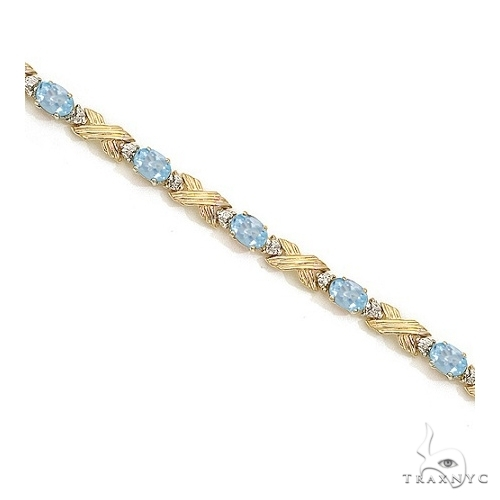 Aquamarine and Diamond XOXO Link Bracelet 14k Yellow Gold Gemstone & Pearl