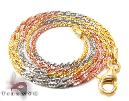 Three Tone Silver Glitter Chain 16 Inches, 1mm, 3.0 Grams Silver