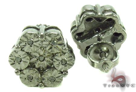 Bezel Black Diamond Silver Earrings 31142 Metal
