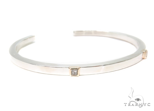 Bezel Diamond Bangle Bracelet 37321 Silver