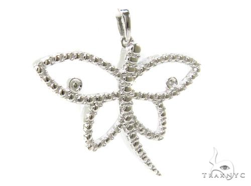 Bezel Diamond Butterfly Silver Pendant 37162 Metal