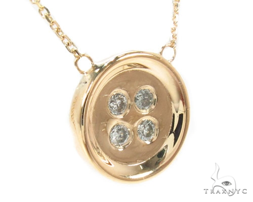 Bezel Diamond Button Necklace 34946 Diamond