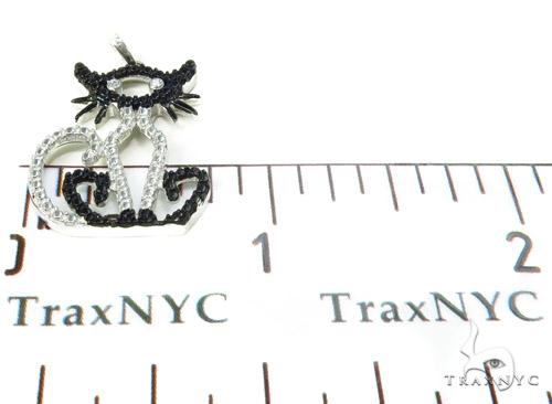Bezel Diamond Cat Silver Pendant 37161 Metal