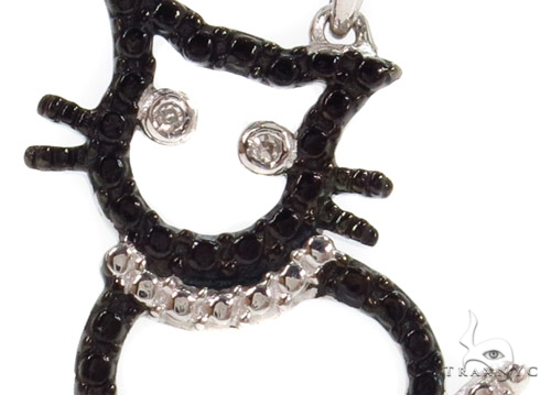 Bezel Diamond Cat Silver Pendant 37418 Metal