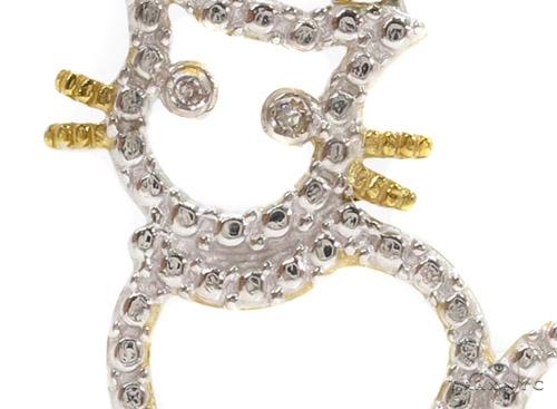 Bezel Diamond Cat Silver Pendant 37422 Metal