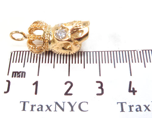 18K Yelow Gold Skull Crown Diamond Set 34381 Metal