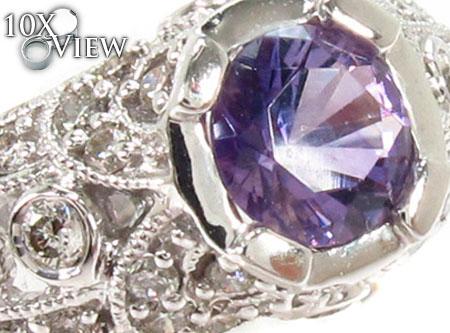 Bezel Amethyst & Diamond Ring 29230 Anniversary/Fashion